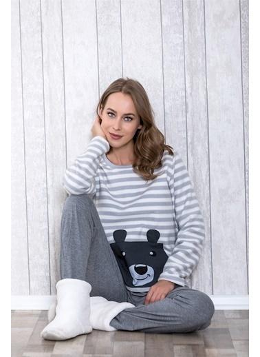 Lingabooms Ayıcık Desenli Kadın 2'li Pijama Takım  Gri